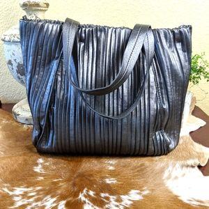 Calvin Klein Silver Metallic Pleated Tote Bag